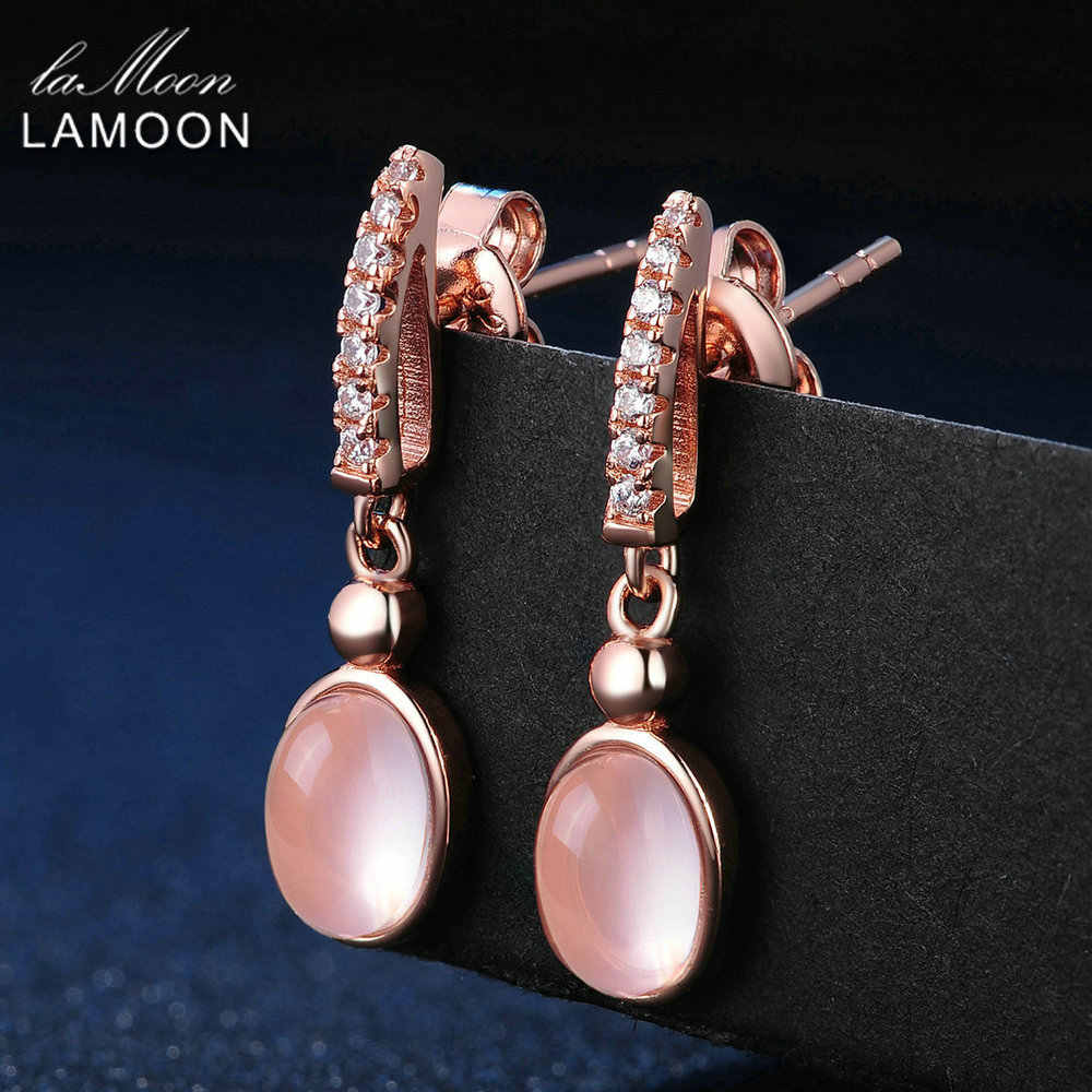 LAMOON 925 Sterling Silver Earrings For Women Rose Quartz Gemstone Earrings Jewelry 18K Rose Gold Plated Drop Earrings LMEI006