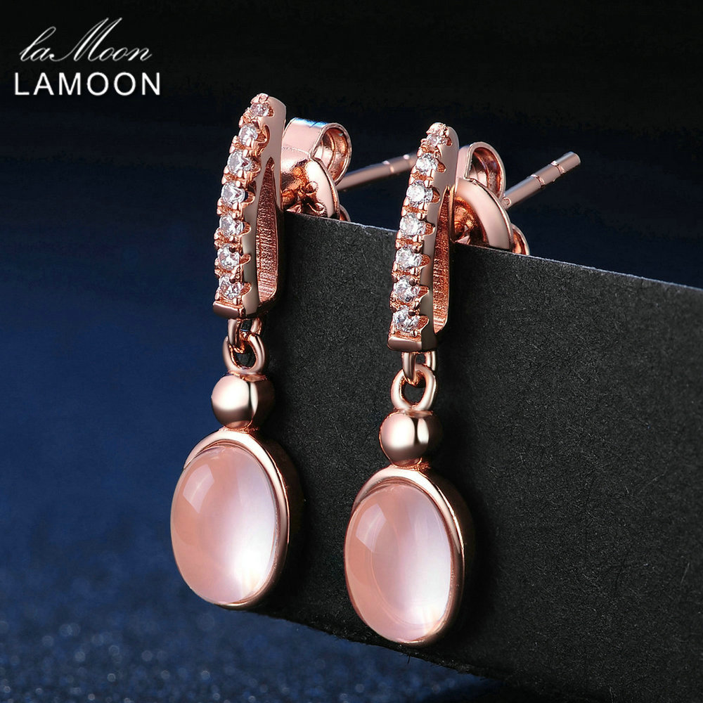LAMOON 5x7mm 100% Natural Pink Rose Quartz 925 Sterling Silver Jewelry Rose Gold Plated Drop Earrings S925 LMEI006