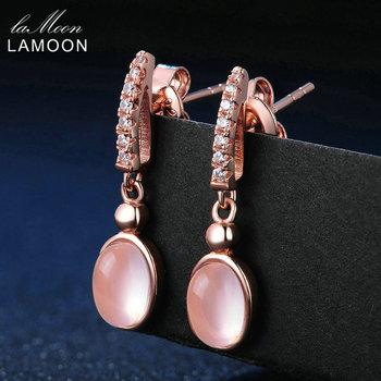 LAMOON 925 Sterling Silver Earrings For Women Rose Quartz Gemstone Earrings Jewelry 18K Rose Gold Plated Drop Earrings LMEI006 фото