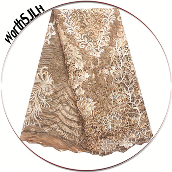 Nigerian Gold Lace Fabric Powder Blue Guipure Wedding Lace Fabric 3d High Quality African Latest French Lace Materials