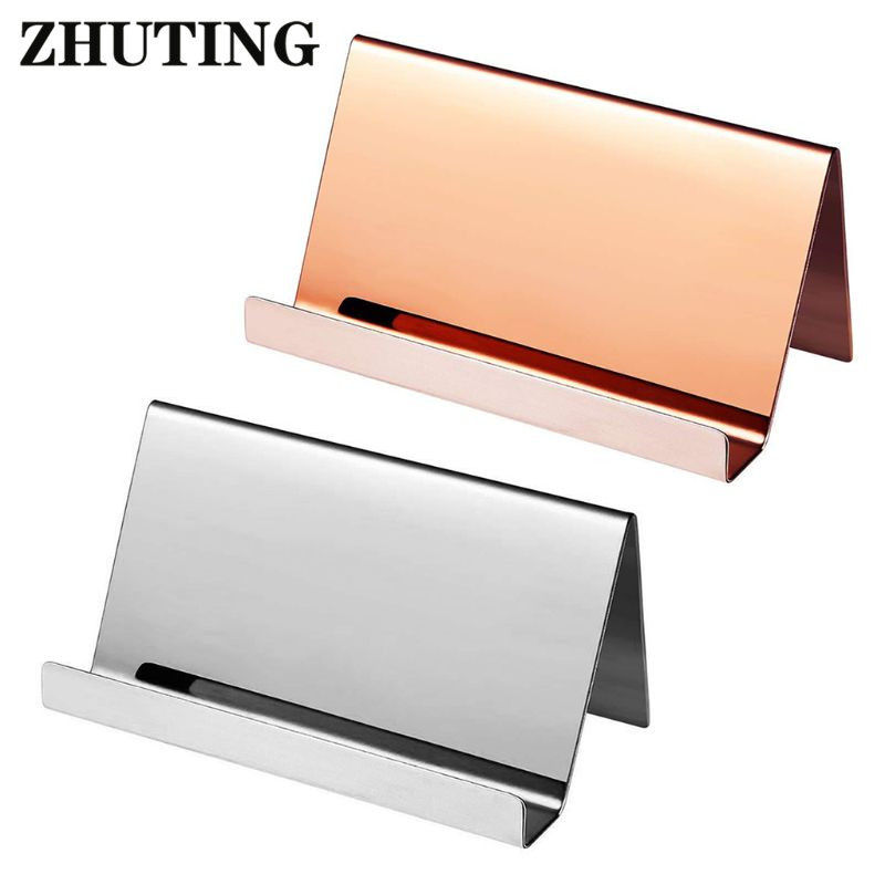 High-End Stainless Steel Business Name Card Holder Display Stand Rack Desktop Table Organizer 2 Colors  Business Card