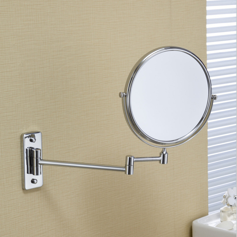 Shaving Bathroom Mirror Wall Mounted Stainless Steel 8 Inch Double Cosmetic Mirror Magnifying