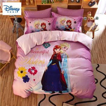 Dondurulmuş Anna Elsa Prenses yatak takımları kraliçe boyutu yorgan nevresim takımı çocuklar için yatak odası dekoru e n e n e n e n e n e n e n e n e n e çarşaf pamuk yatak örtüsü