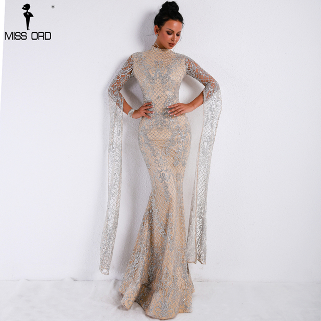 Missord 2019 Women Sexy  High Neck Long Sleeve Split Glitter Dress Female Maxi Elegant Party Dress FT9283