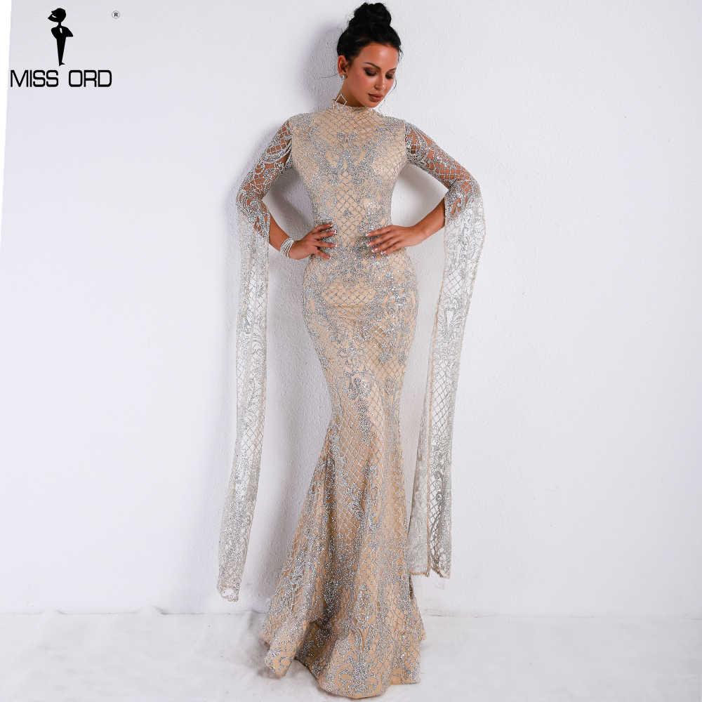 7574ce0ecee12 Missord 2019 Women Sexy High Neck Long Sleeve Split Glitter Dresses Female  Maxi Elegant Party Dress