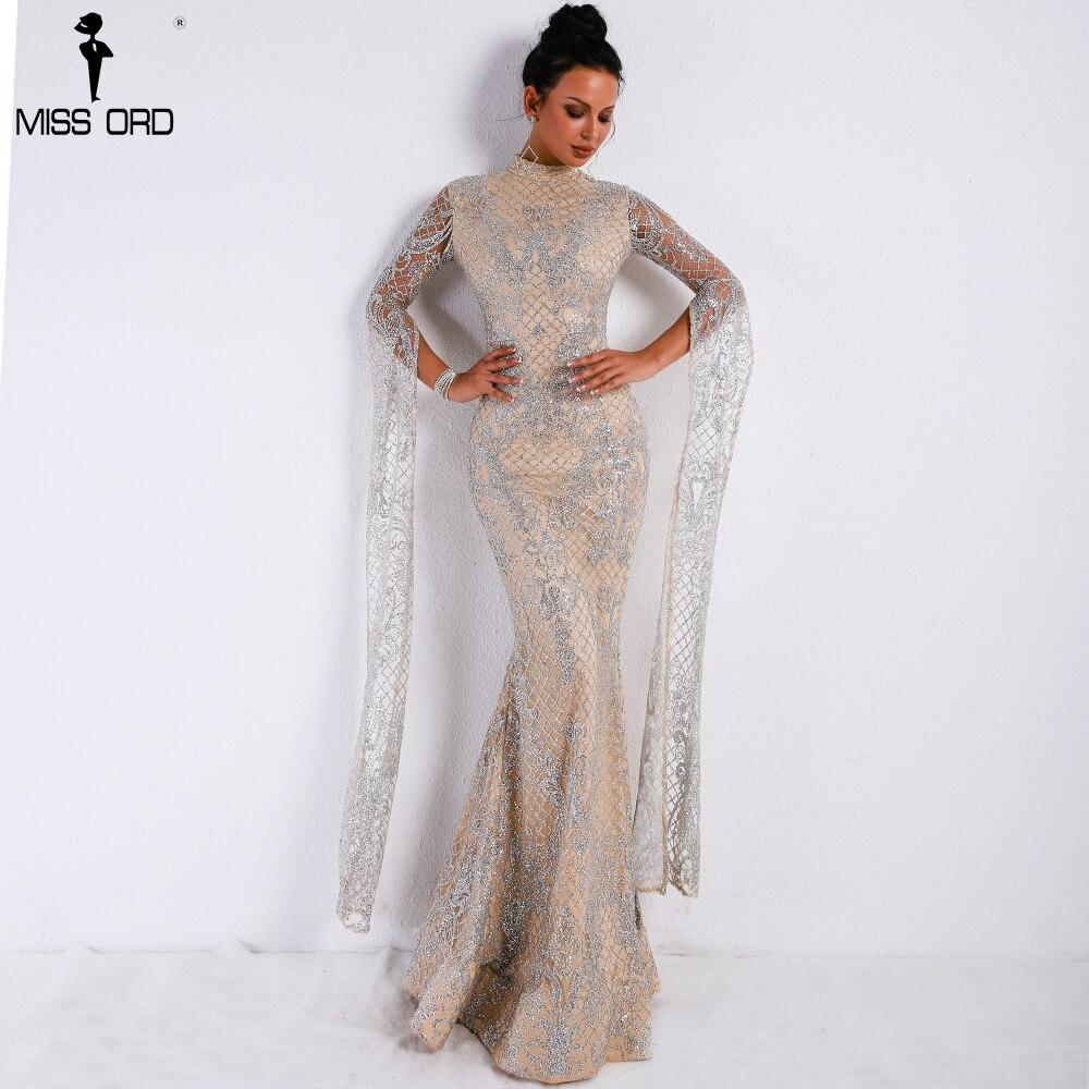Missord 2019 femmes Sexy col haut à manches longues fente robe à paillettes femme Maxi robe de soirée élégante FT9283