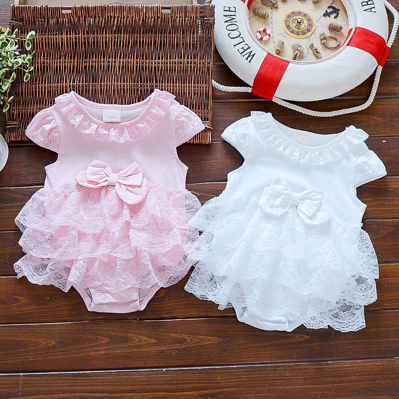 Baby Summer Bodysuit Infant Girls Princess Dress Baby Christening Baptism Gown Party Wedding  0-3 3-6 6-9 Months Bodysuit