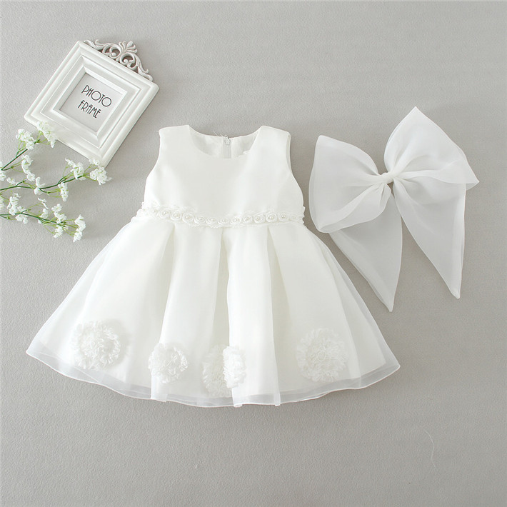 Ivory Newborn Baby Clothes Girls Dresses for 0 2T Flower Girl Dress Formal Gowns Christmas Birthday
