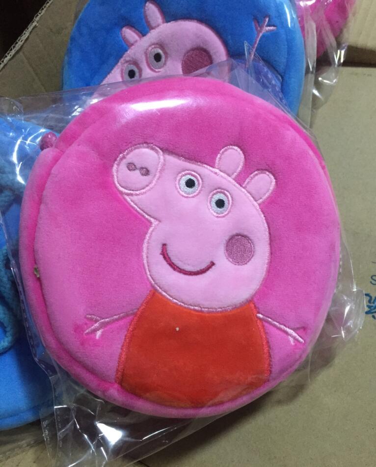 Genuine Peppa Pig 16*16cm Plush Backpacks kids coin purse peppa Goerge round bag plush toys kids cute gift toy 1pc 5