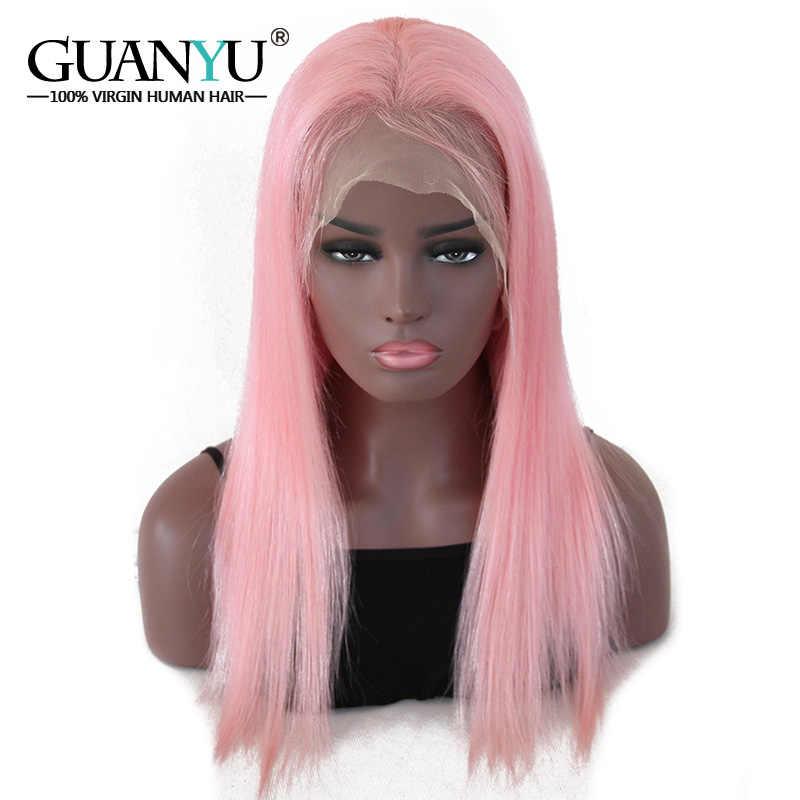 Guanyuhair предварительно сорванные розовые кружевные передние парики прямые перуанские Remy человеческие волосы 130% плотность бесплатная часть с волосами младенца