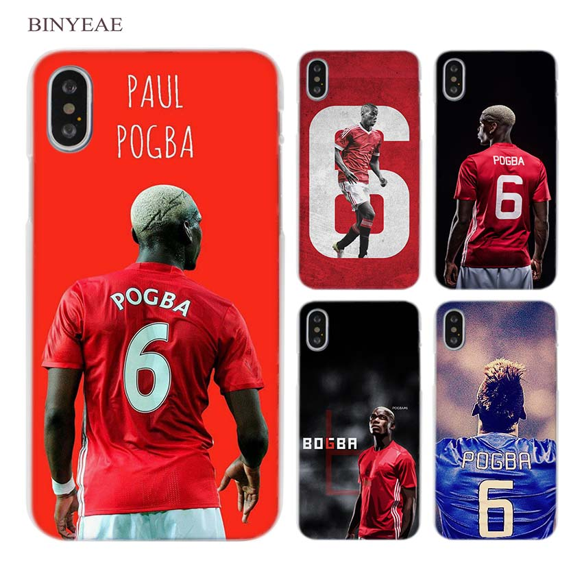 BINYEAE Football Paul Pogba Clear Cell Phone Case Cover for Apple iPhone X 6 6s 7 8 Plus 4 4s 5 5s SE 5c