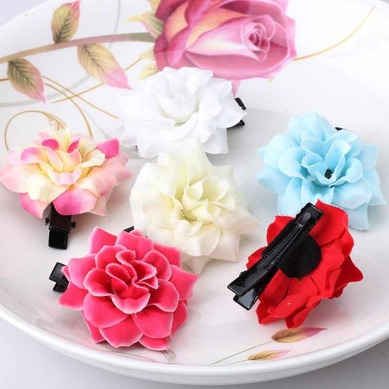 M MISM Hot Sales Sweet Girls Hair Accessories Peony Fabric Flower Hair Pins Kids Princess Barrettes Ornaments Fashion Hair Clips