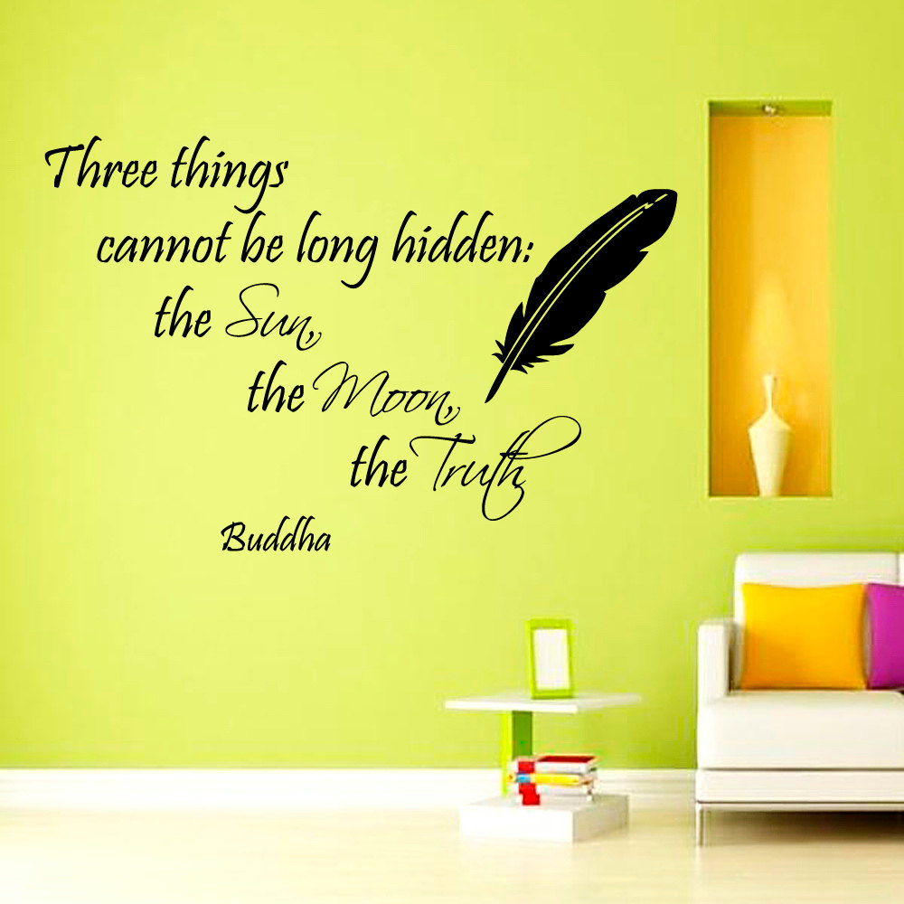 ZOOYOO Three Things Cannot Be Long Hidden Buddha Wall Sticker Feather Decoration Wall Art Murals Living Room Bedroom Wall Decals-in Wall Stickers from ...