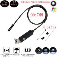 7mm Mini Micro USB Android Phone OTG Endoscope Camera 2M Cable IP67 Waterproof Snake Tube Pipe