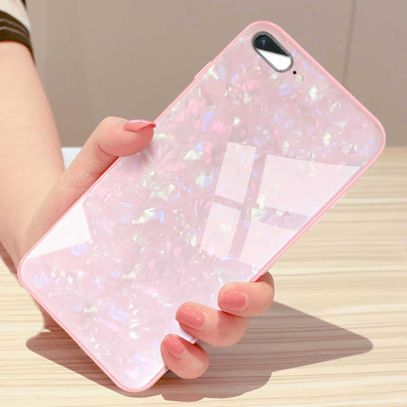 Kerzzil Glitter Pearl Tempered Glass Phone Case For iPhone X XR XS Max Soft Silicone Edge Hard Cover For iPhone 7 8 6 6s Plus