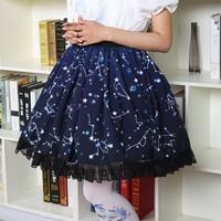 Cute Blue Sweet Constellation Printed Lolita Skirt Black Lace Trim Magic Tea Party Saia Japanese Harajuku Princess Women Skirt