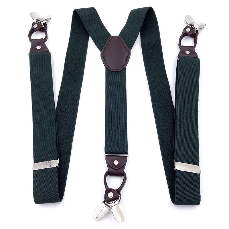 3.5cm Wide Military Green Six Clip Elastic Men's Suspenders FY18102005