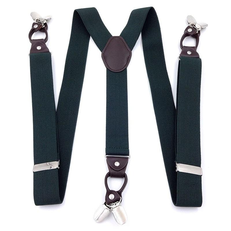3.5cm Wide Military Green Six Clip Elastic Men's Suspenders FY18102005