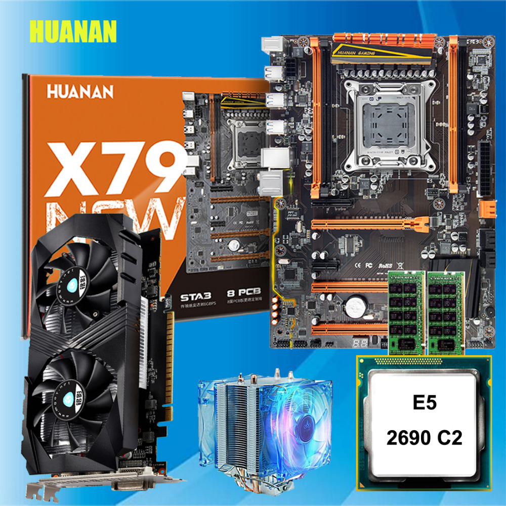 Discount HUANANZHI X79 deluxe gaming motherboard with M.2 slot CPU Intel Xeon E5 <font><b>2690</b></font> C2 RAM 32G(2*16G) video card GTX1050ti 4G image