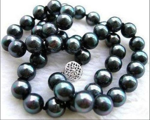 2018 BEW REAL NATURAL 10MM BLACK SEA SHELL PEARL NECKLACE 17 inch AAA