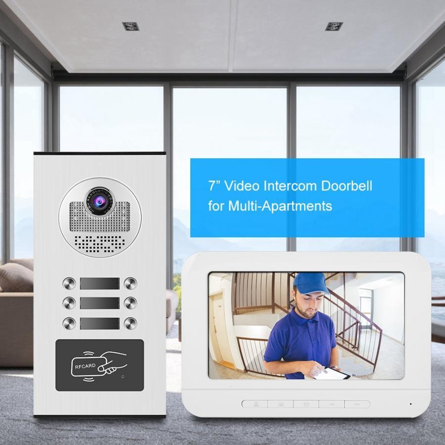 7inches Door Bell Video Intercom Smart Doorbell Phone RFID Camera 3 Apartments deurbel