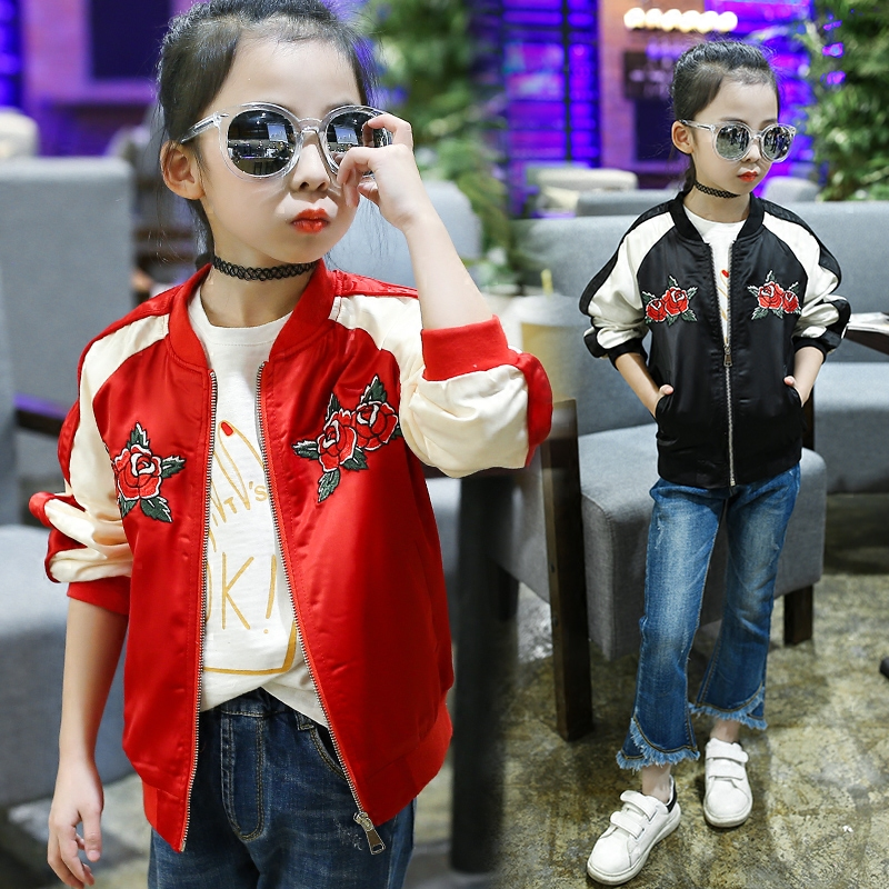 ФОТО 2017 Spring Jacket For Girls Floral Embroidery Girls Clothes Long Sleeve Sport Coat Baby Girls Baseball Jacket 6 8 10 12 14 Year
