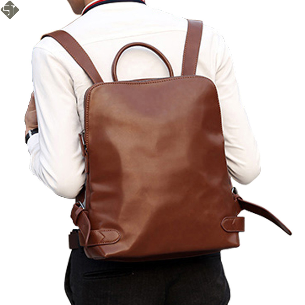 New 2017 Fashion Men PU Leather Backpack High quality Men's travel bags Preppy Style Men school bag Casual Rucksack bags mochila sweet college wind mini school bag high quality pu leather preppy style fashion girl candy color small casual backpack xa384b
