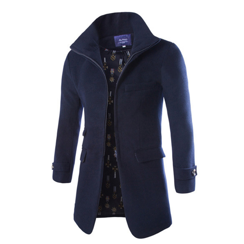 2015 New Winter Coat Coarse Does Zipper Collar High end European And American Style Fashion Woolen