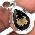 Genuine Smokey Quartz Pendant  100%  925 Sterling Silver Jewellery AP0706