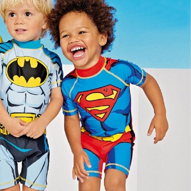 Супермен купальный костюм для мальчика футболка с забавным мультипликационным принтом «Одна деталь купальные костюмы с Бэтменом костюм Спайдермен Капитан Америка От 2 до 8 лет Детский комбинезон Bechwear