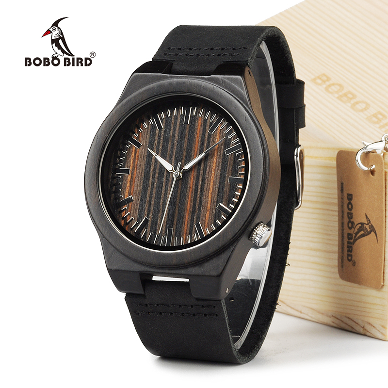 BOBO BIRD 100% Natural Ebony Wooden Bamboo Watches With Real Leather Casual Watches for Man In Gift Box corporate real estate management in tanzania