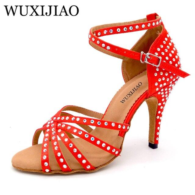 WUXIJIAO Nuovo confortevole bronzo/Viola/Rosso del raso scarpe da ballo e strass ballo Latino delle donne scarpe tacchi