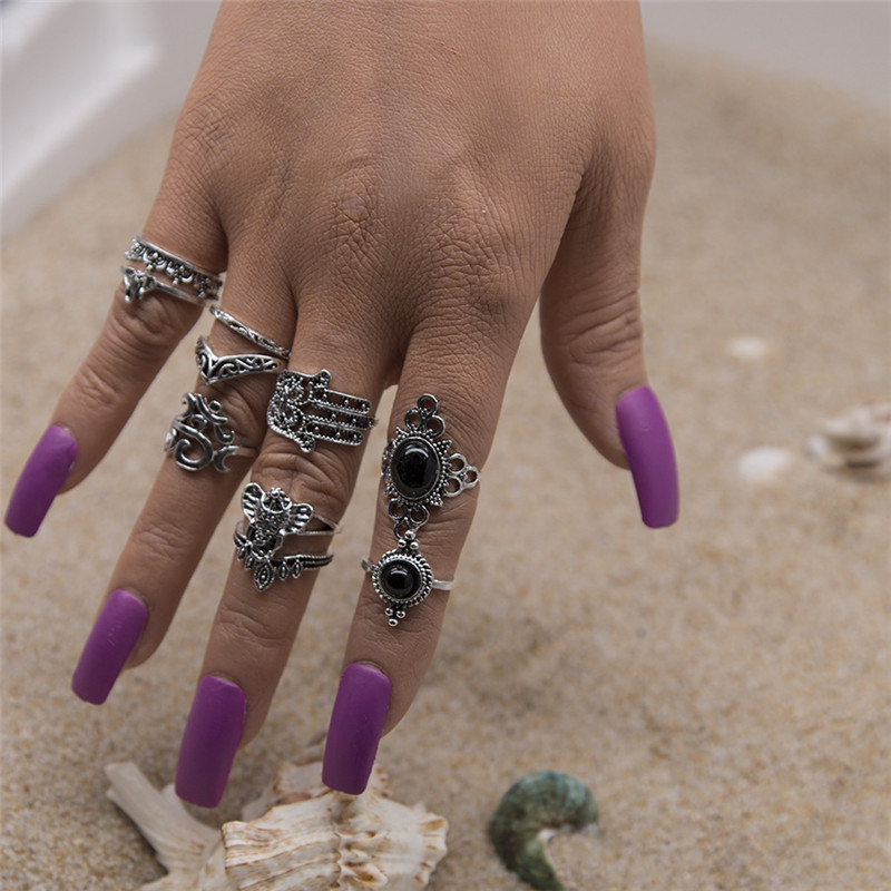 Wholesale 10Pcs/Set Vintage Punk Rings Set Round Hollow Out Hand Elephant Antique Silver Color Rings For Women Party Gift