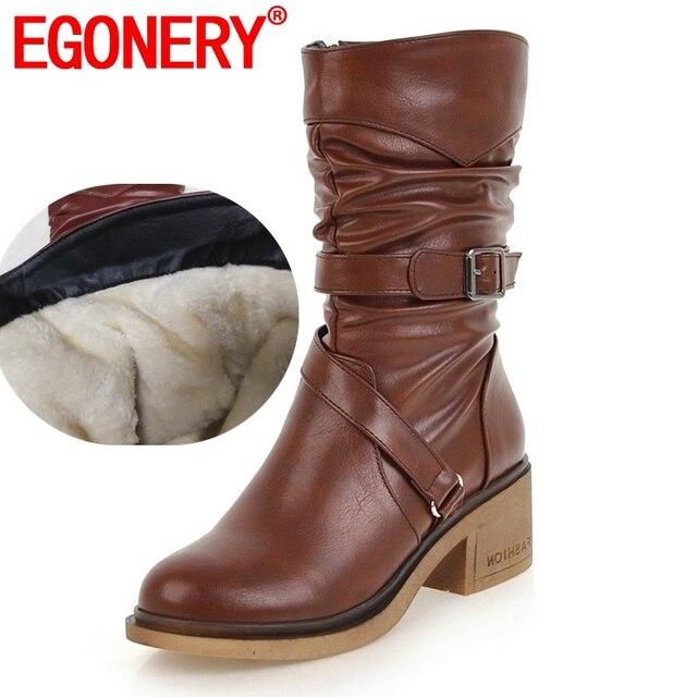 EGONERY scarponi da neve delle donne di modo delle signore fibbia scarpe di buona qualità punta rotonda 3 di colore nero marrone inverno nuovo stile mid vitello stivali