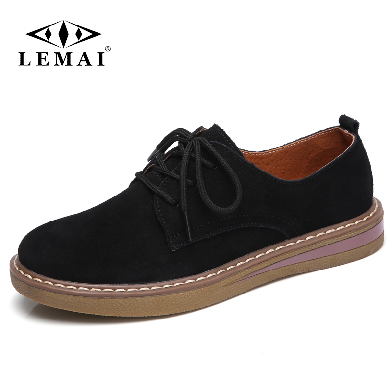 LEMAI 2018 Autumn women sneakers oxford shoes flats shoes women   leather     suede   lace up boat shoes round toe flats moccasins 35-41