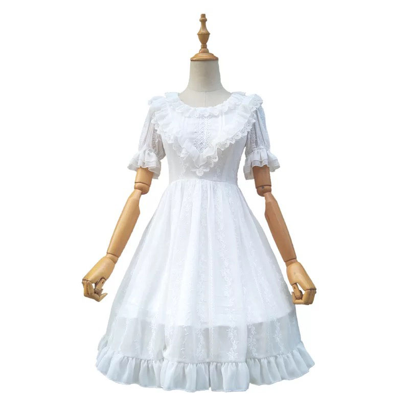 Ladies Summer White Sweet Lolita Rose Embroidered Midi Dress Short Sleeves Chiffon Ruched Collar Lace Ball Dress For Women S-XL