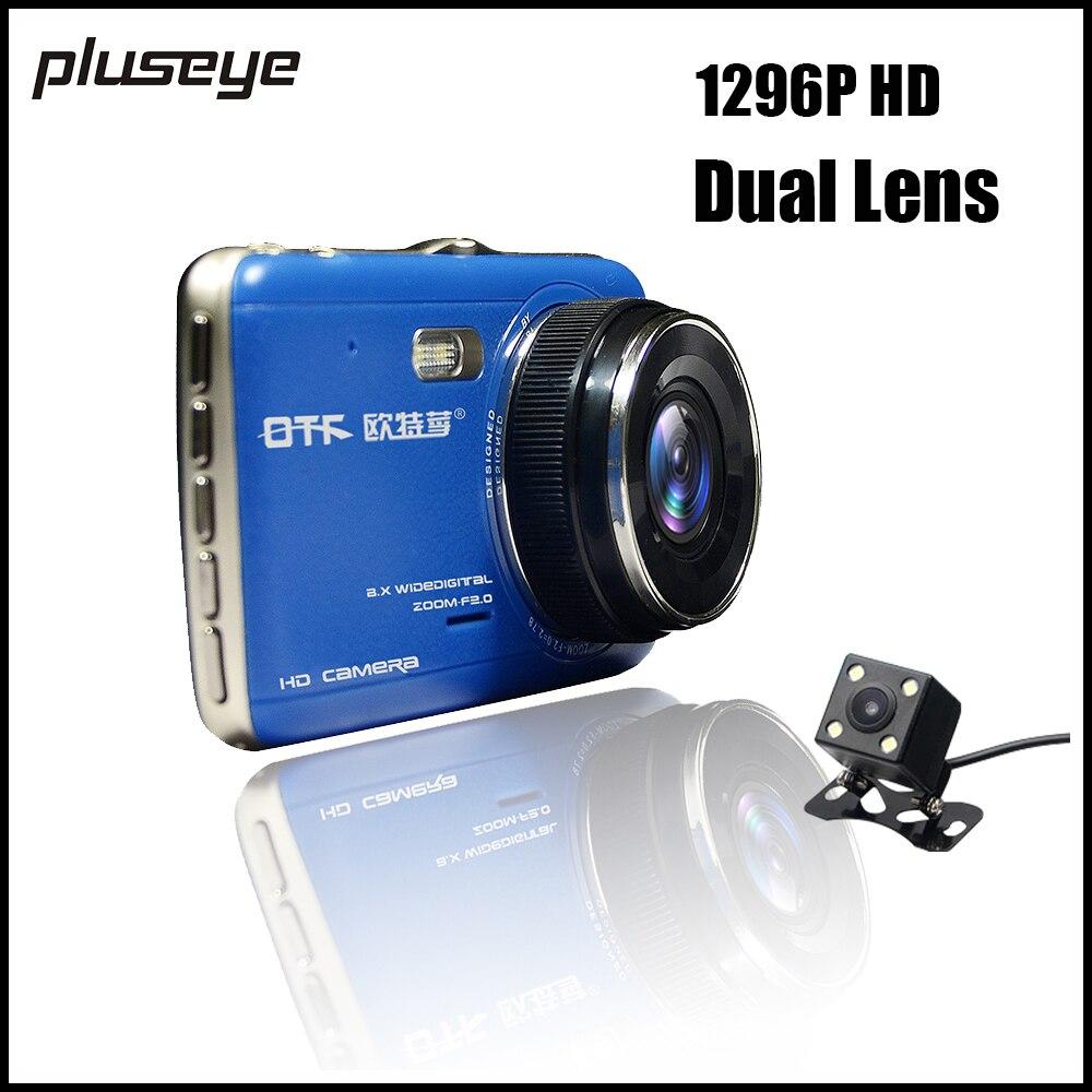 1296P Ultra HD Car DVR Dual Lens Dash Cam 4.0 Inch IPS Screen,Night Vision Car Cameras G-sensor Video Registrator + ADAS warning original novatek 4 0 ips car dvr camera ait8328p dash cam full hd 1080p video recorder registrator g sensor night vision