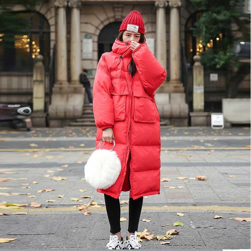 Coton Femmes red gem Le Épaississement Longue Black Sur Bas Z030 De Section Slim D'hiver Blue Rouge Mince Genou Était Manteau Vers xRw1YA1B