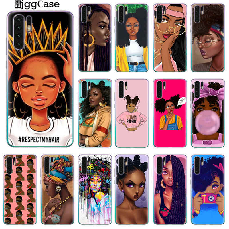 2bunz Melanin Poppin Afro Black Girl Case For Huawei P20 Lite P10 P20 P30 Pro Lite P10 Plus P9 Lite 2017 Soft Silicone TPU Cover