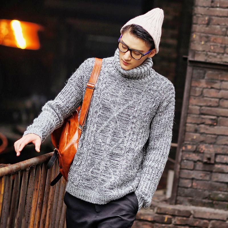 Primavera roupas camisola de gola alta torção agulha grossa camisola dos  homens na Europa e América Bonito moda promoção Desconto f410933d4d340