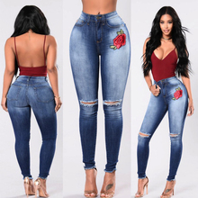 Ripped hole fashion Jeans Women High Waist skinny pencil Denim Pants Stretch embroidery sexy Jeans women high street wear jeans