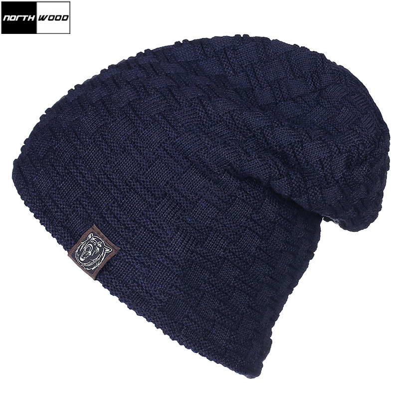 [NORTHWOOD] Warm Thicken Velvet Winter Beanie Solid Knitted Winter Hats For Men Women Skullies Beanies Gorras Mens Bonnet Caps