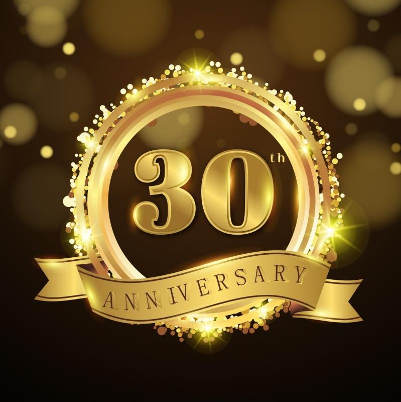 Laeacco 30th Anniversary Party Golden Circle Ribbon Light Bokeh Photography Background Scene Photographic Studio Photo Backdrops