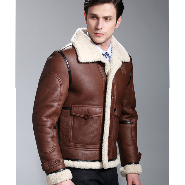 Thick Warm Sheepskin Wool Fur Male Genuine Leather Clothing Fur Coat Genuine Fur Black Leather Clothing Double-faced Formal Coat