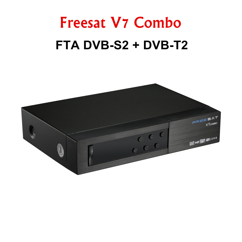 Open box freesat V7 Combo support 1 year Europe cccam 3 Clines WIFI DVB-S2T2 Support PowerVu Biss Key CCcam Satellite Receiver