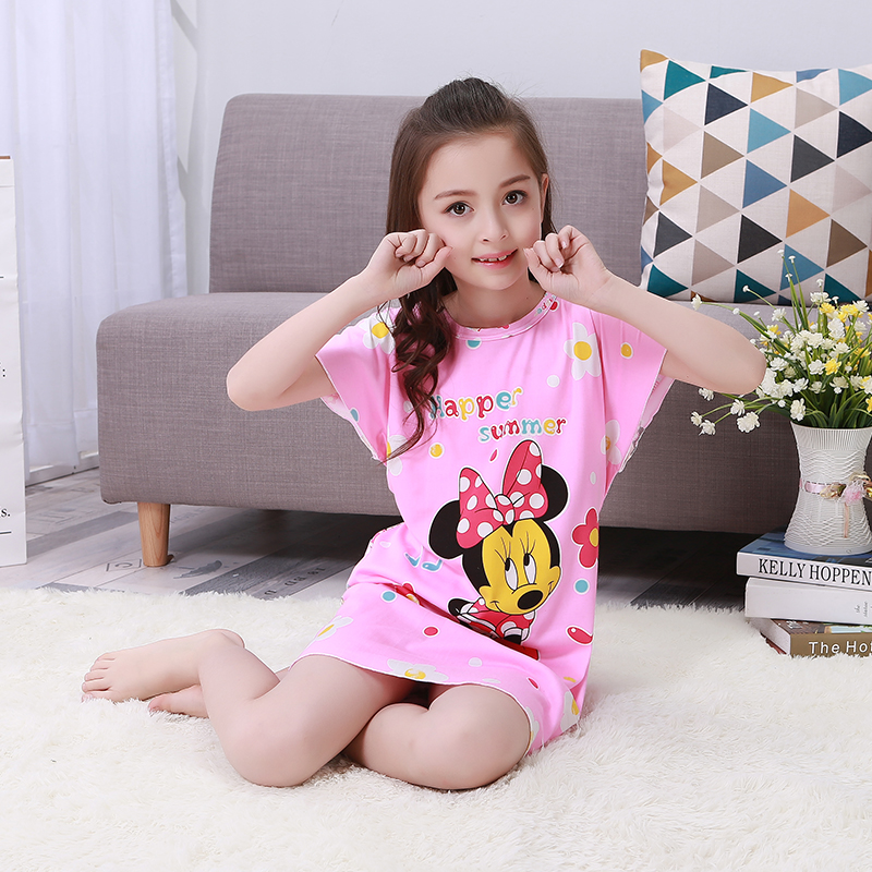 A % A860 летняя ночная рубашка с коротким рукавом для девочек, пижамы, Детская Милая Ночная рубашка, милая детская ночная рубашка с героями муль...