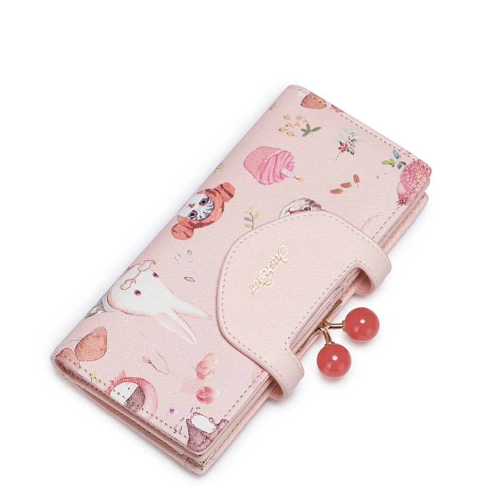 2017 New Arrived Animal Printing Cherry Beads Frame PU Women Leather Girls Ladies Long Wallets Cards
