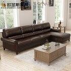 7 seater sofa set, bovine leather sofa, American style sectional heated leather sleeper sofa set F69