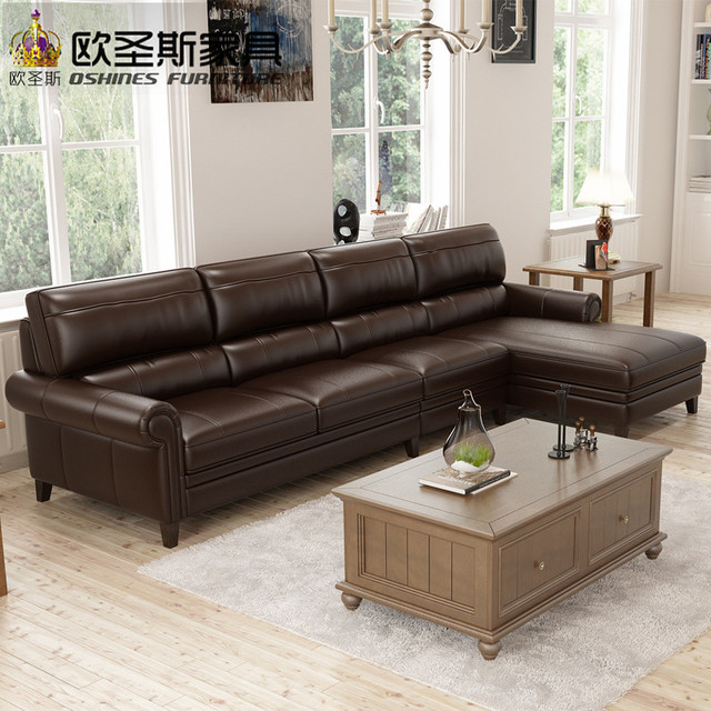 7 Seater Sofa Set Bovine Leather Sofa American Style