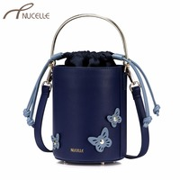 NUCELLE Women S Leather Handbags Ladies Fashion Panelled Butterfly Shoulder Tote Purse Female String Barrel Mini
